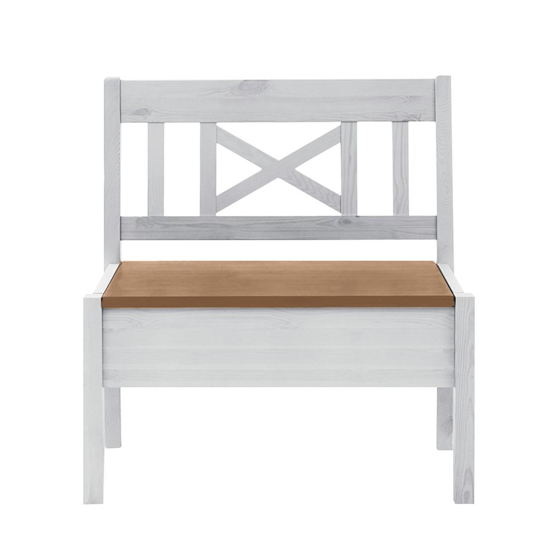 Bank Fjord zonder armleuningen - massief grenenhout wit/barnsteen - Wit grenenhout/loogkleurig grenenhout - 74cm, Maison Belfort