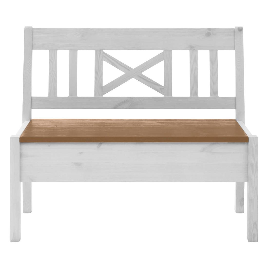 Bank Fjord zonder armleuningen - massief grenenhout wit/barnsteen - Wit grenenhout/loogkleurig grenenhout - 97cm, Maison Belfort