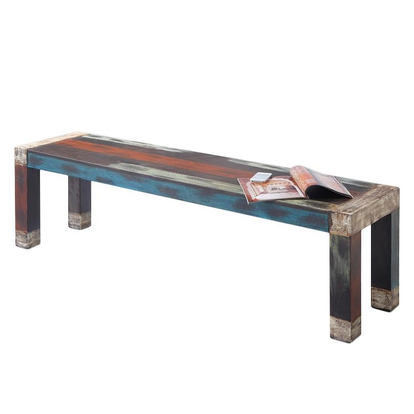Sitzbank Goa - Akazie / Mango teilmassiv - Mehrfarbig, Wolf Möbel