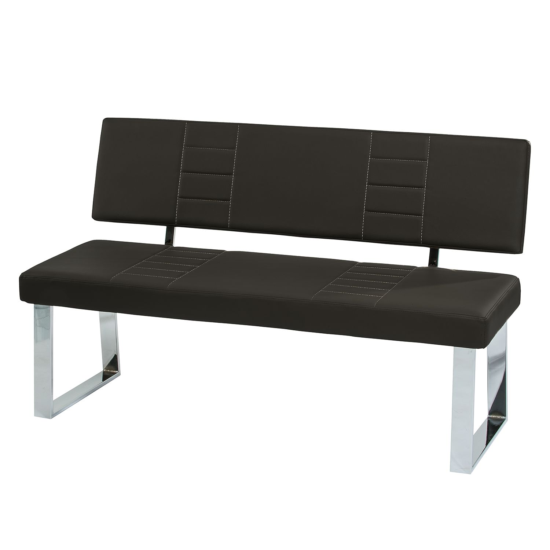 Home 24 - Banc d assise pangolo i - imitation cuir - noir / chrome, fredriks