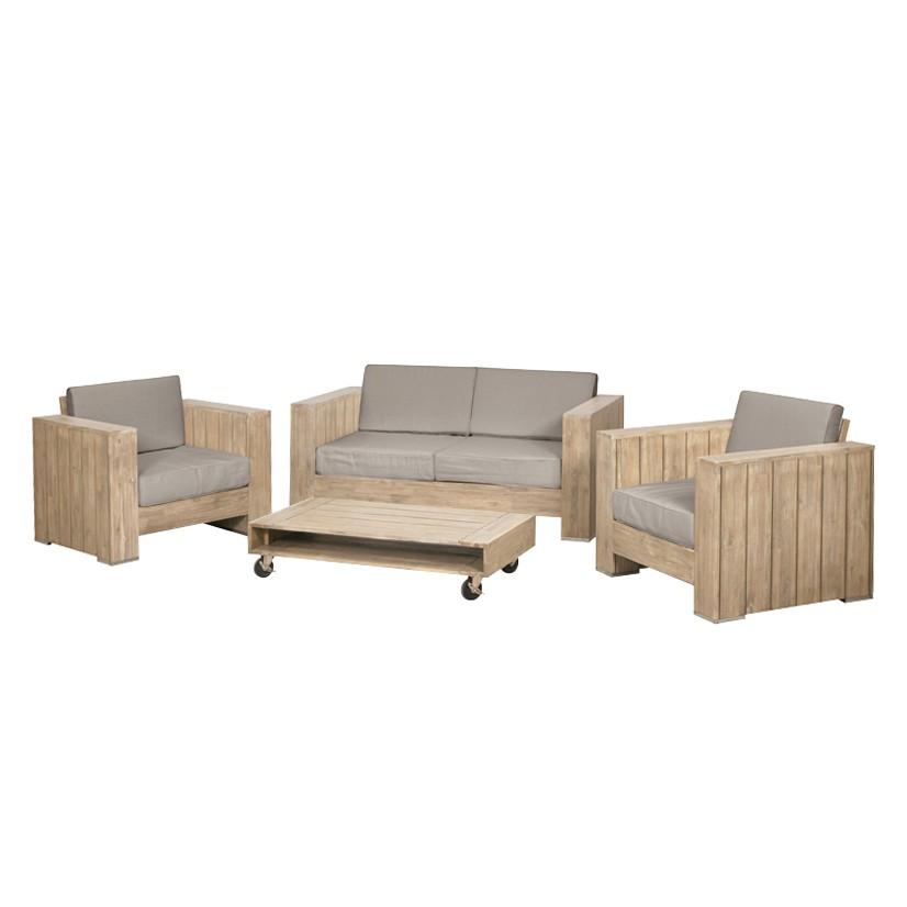 Sitzgruppe Halmstad (4-teilig) - Webstoff / Akazie massiv - Beige bei Home24 - Gartenmöbel