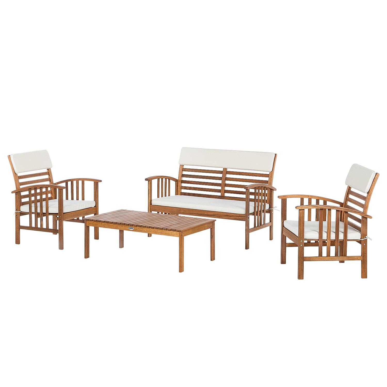 Sitzgruppe Mykonos (4-teilig) - Akazie massiv / Webstoff, Ploß