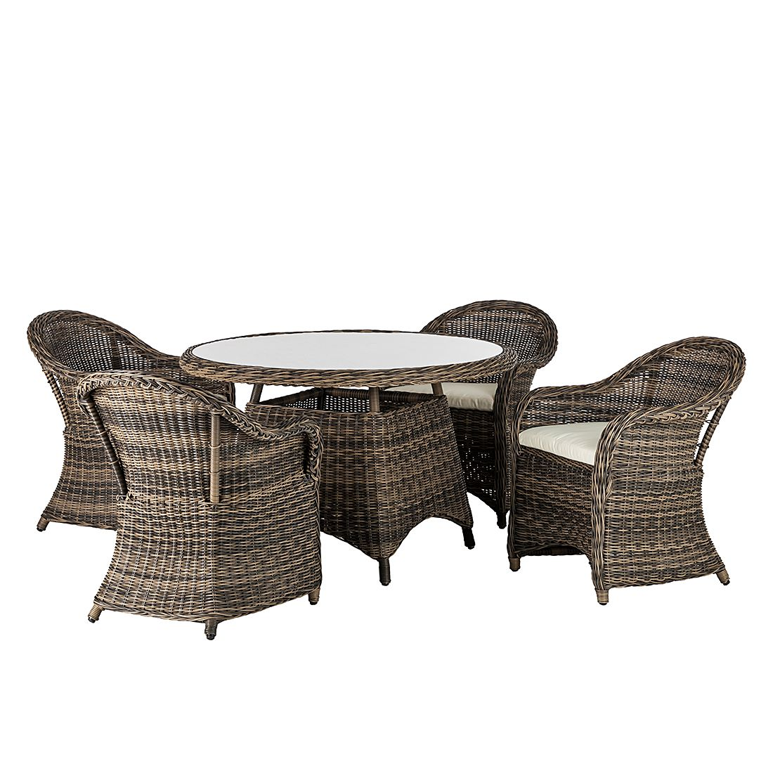 Salon de jardin Royal Comfort (5 éléments) - Rond - Avec coussins d'assise, Maison Belfort