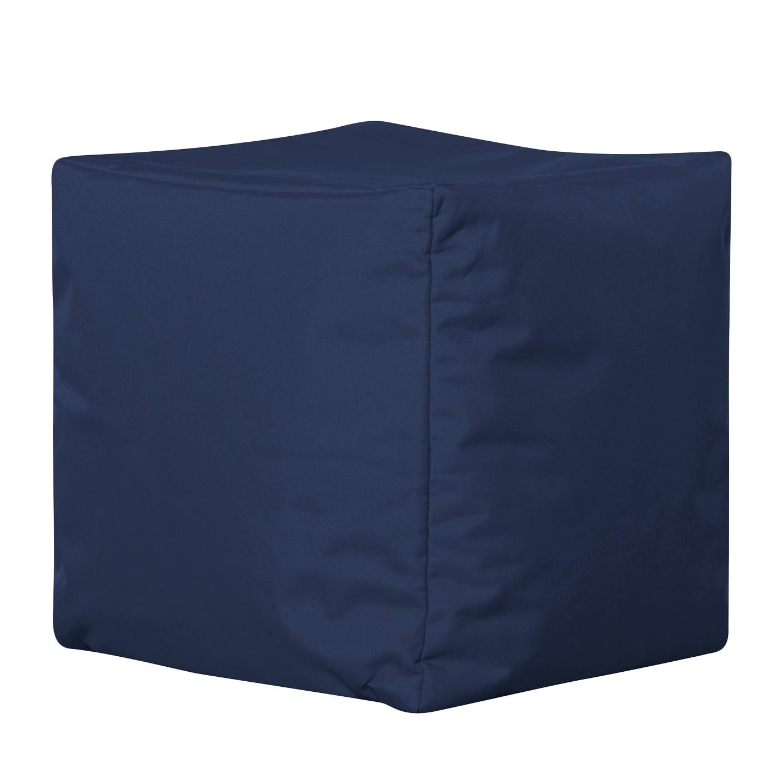 Home 24 - Pouf scuba cube - tissage à plat - bleu jean, sitting point