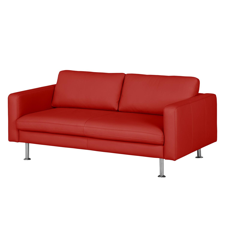 Canapé Bivona II (2 places) - Cuir véritable - Rouge, Nuovoform