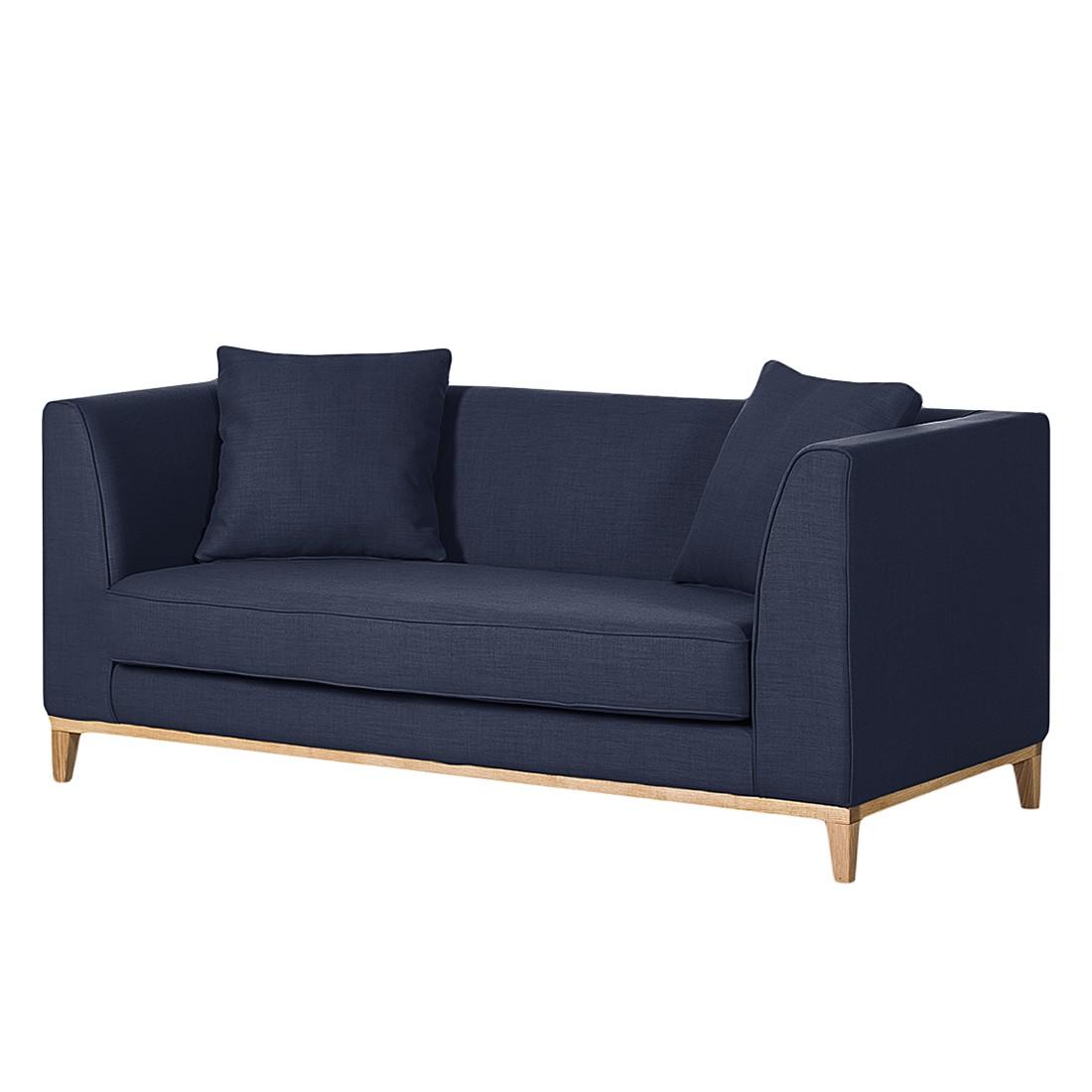 Canapé Blomma (2 places) - Tissu bleu foncé - Structure : couleur chêne, Jack and Alice