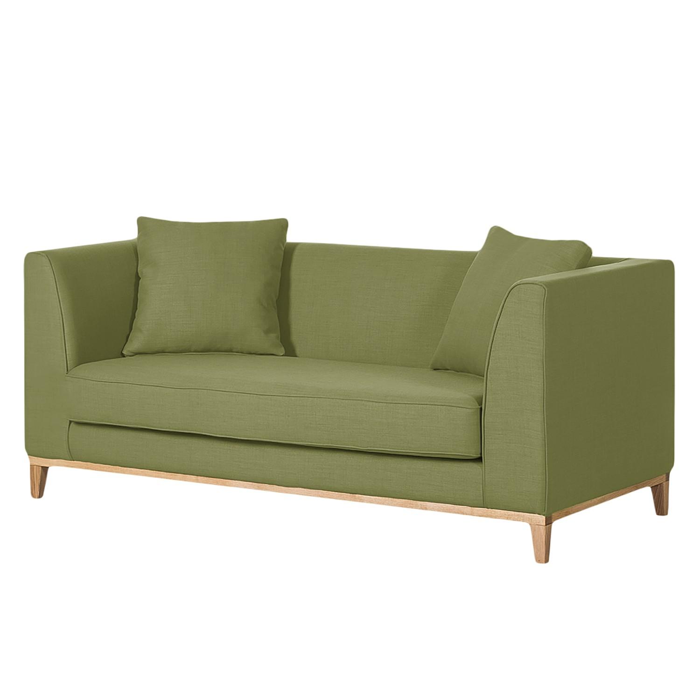 Canapé Blomma (2 places) - Tissu vert olive - Structure : couleur chêne, Jack and Alice