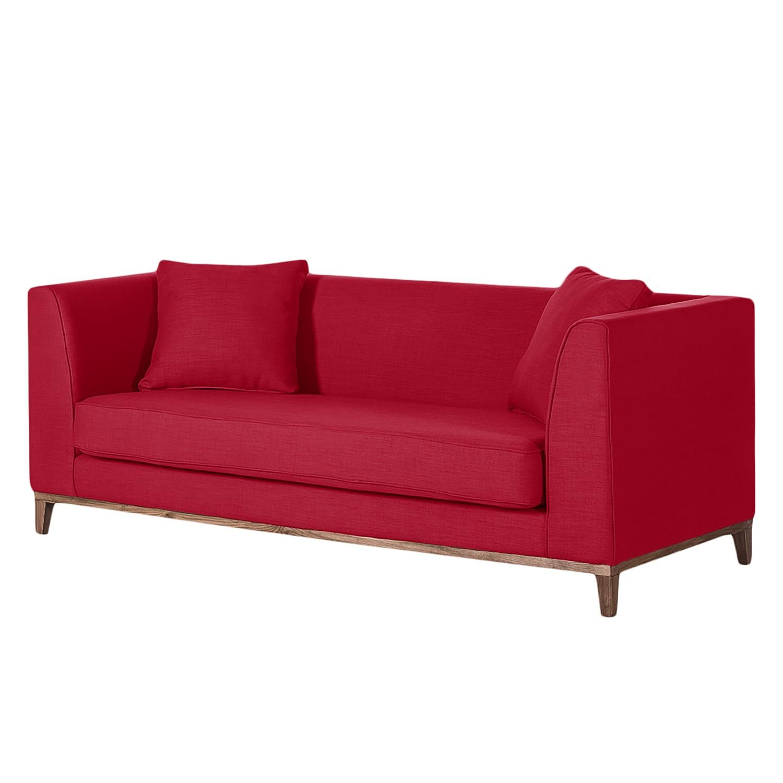 Canapé Blomma (3 places) - Tissu rouge - Structure : couleur noisette, Jack and Alice