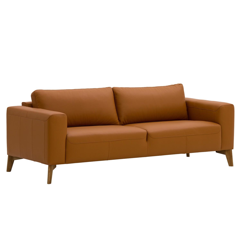 Sofa Bora (3-Sitzer) Echtleder - Eiche - Echtleder Neka Cognac