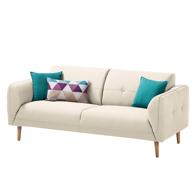 Sofa Cala (2,5-Sitzer) Strukturstoff - Eiche Natur - Stoff Osta Altweiß