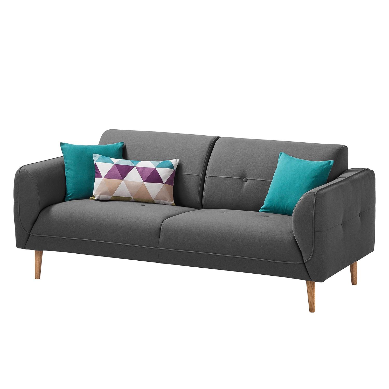 Sofa Cala (2,5-Sitzer) Strukturstoff - Eiche Natur - Stoff Osta Anthrazit