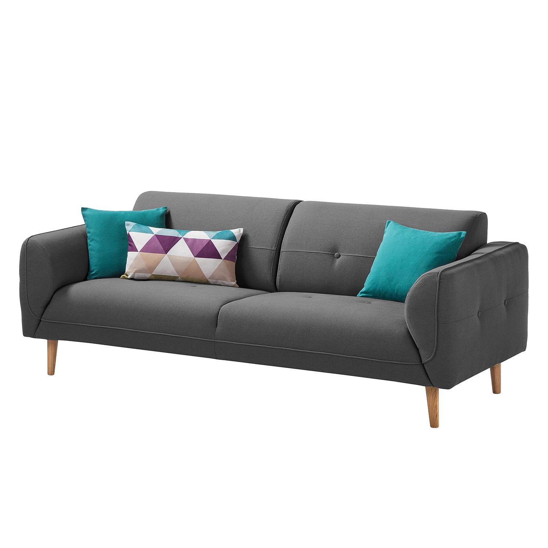 Sofa Cala (3-Sitzer) Webstoff - Eiche Natur - Stoff Osta Anthrazit