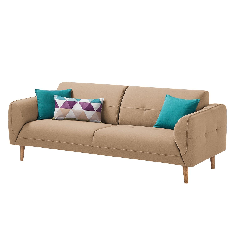Sofa Cala (3-Sitzer) Webstoff - Eiche Natur - Stoff Osta Cappuccino