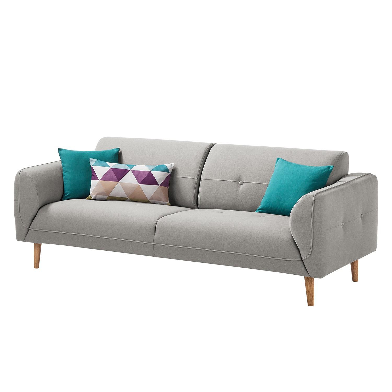 Sofa Cala (3-Sitzer) Webstoff - Eiche Natur - Stoff Osta Graubraun