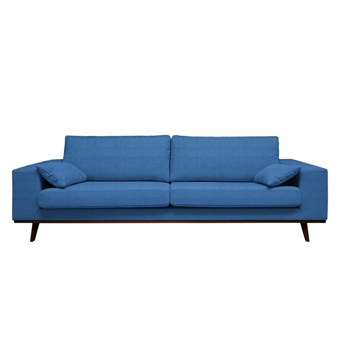 Canapé Billund II (3 places) - Tissu - Bleu brillant, Morteens