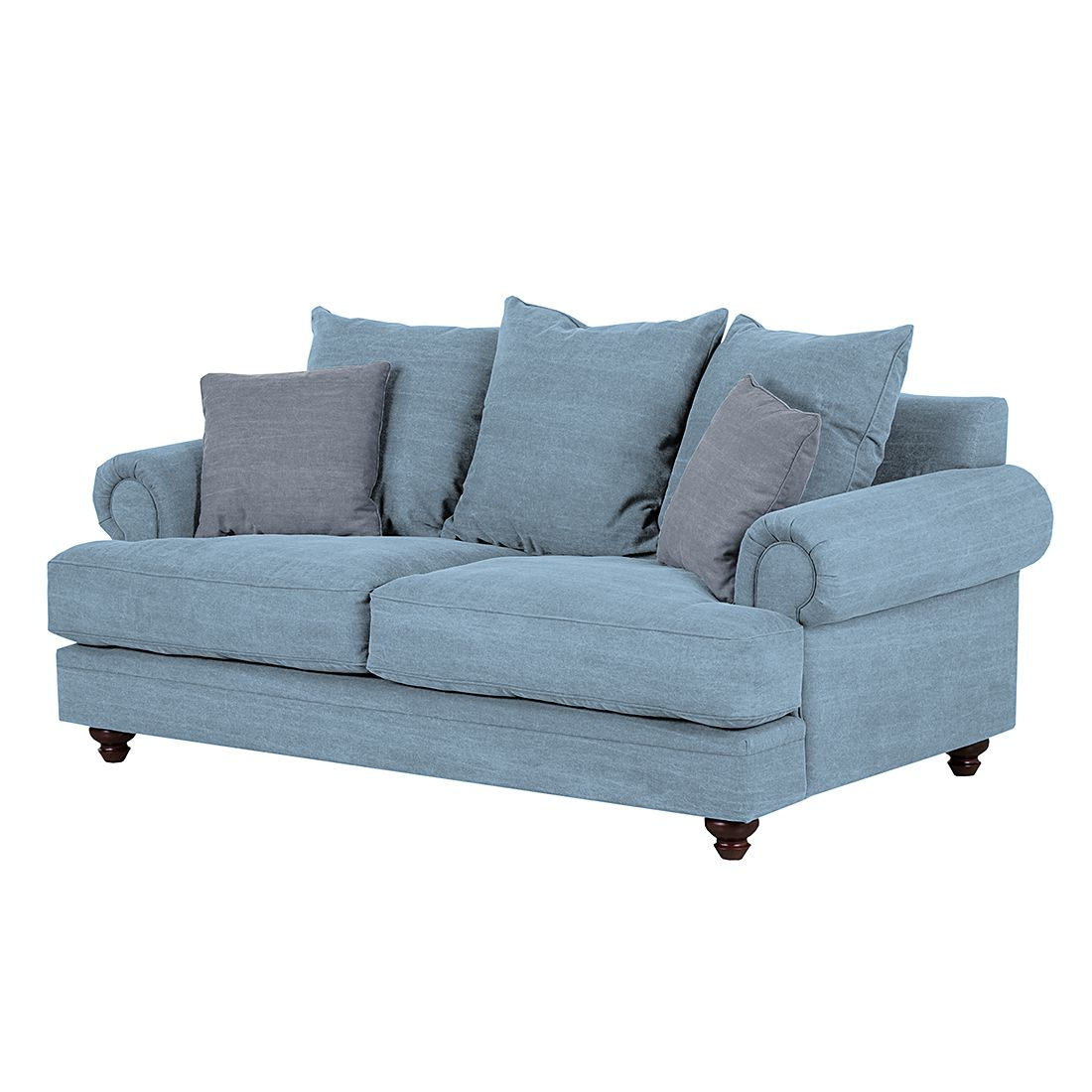Sofa Davido 2 Sitzer Baumwollstoff Hellblau Maison Belfort