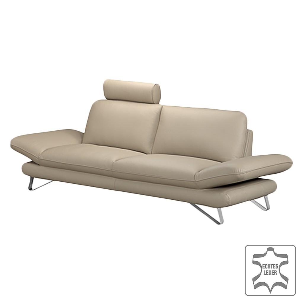 Sofa Enzo (2,5-Sitzer) - Echtleder Beige - Mit 1 Kopfstütze