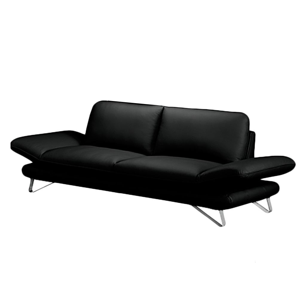 Sofa enzo 3 sitzer echtleder schwarz ohne kopfst tze for Barhocker echtleder schwarz