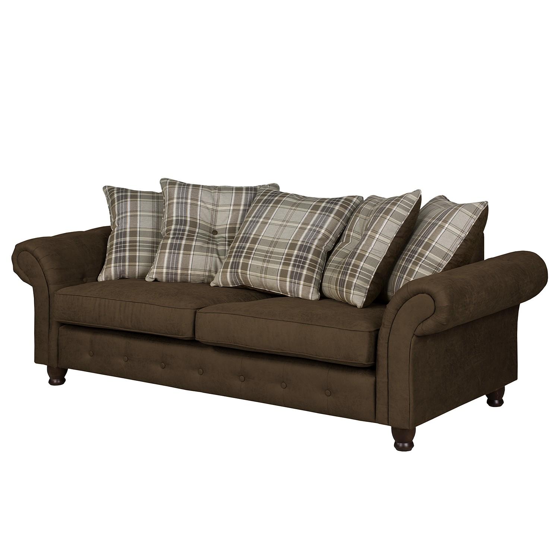 Sofa Goldwin Antiklederlook / Webstoff (3-Sitzer) - Espresso, Rid bei Home24 - Möbel