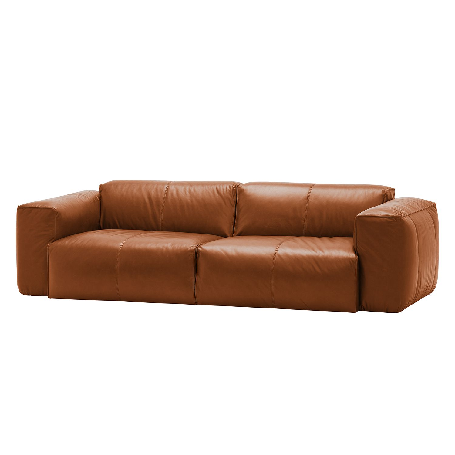 Ledercouch braun modern  Sofa Hudson II (3-Sitzer) Echtleder - Fashion For Home