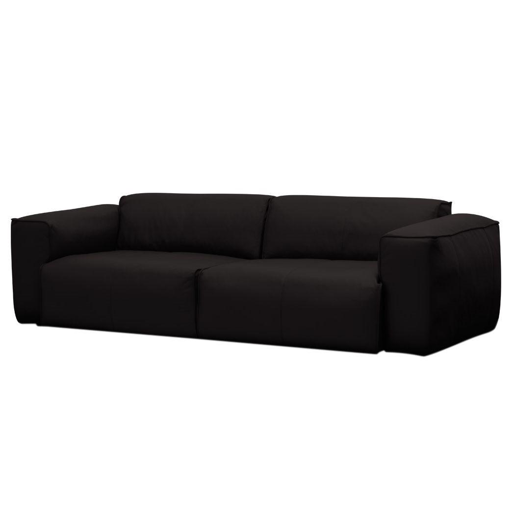 Sofa Hudson II (3-Sitzer) - Echtleder - Echtleder Neka Schwarz