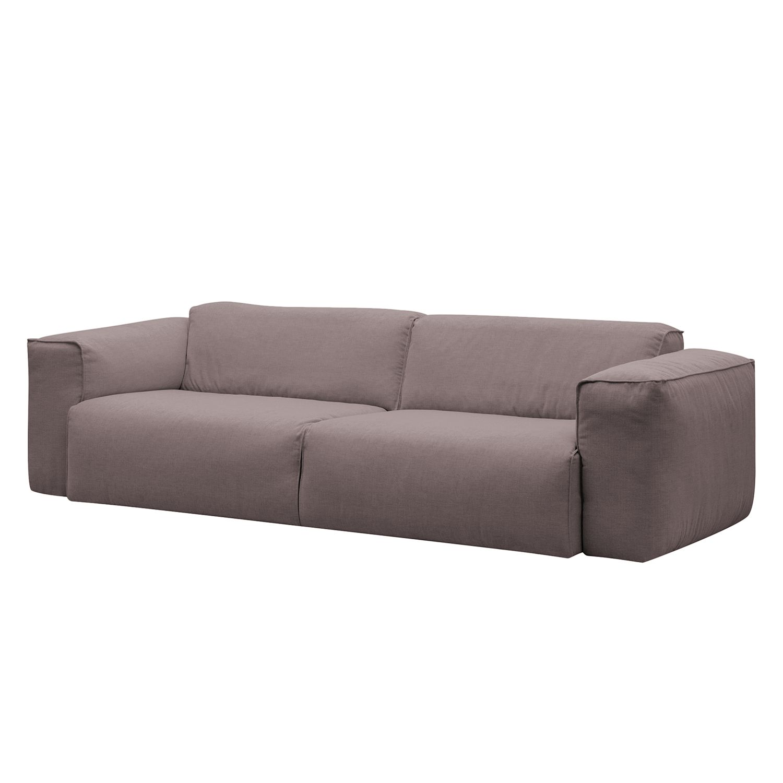 Sofa Hudson II (3-Sitzer) - Webstoff - Stoff Milan Grau-Braun