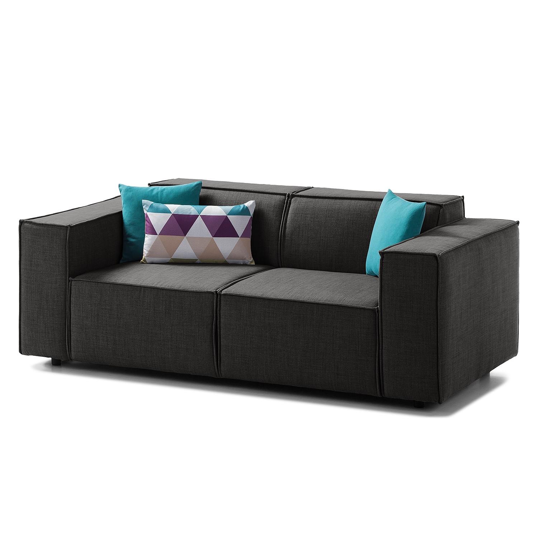Sofa Kinx (2-Sitzer) - Webstoff - Keine Funktion - Stoff Milan Anthrazit