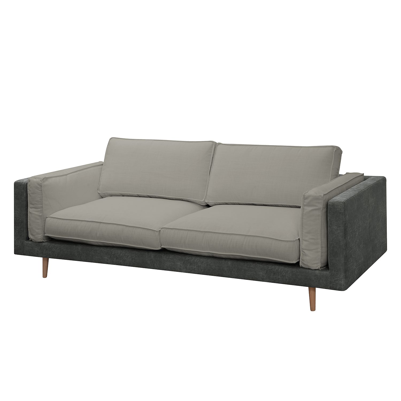 Sofa Kofi (3-Sitzer) Antiklederlook / Webstoff - Dunkelgrau / Hellgrau