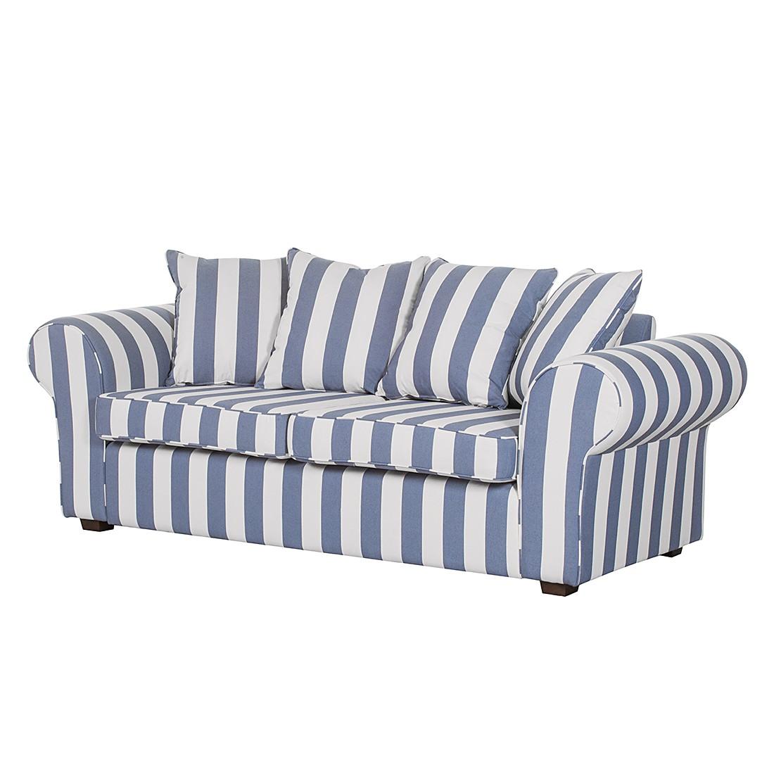 Canapé Colmar (3 places) - Tissu bleu à rayures, Maison Belfort