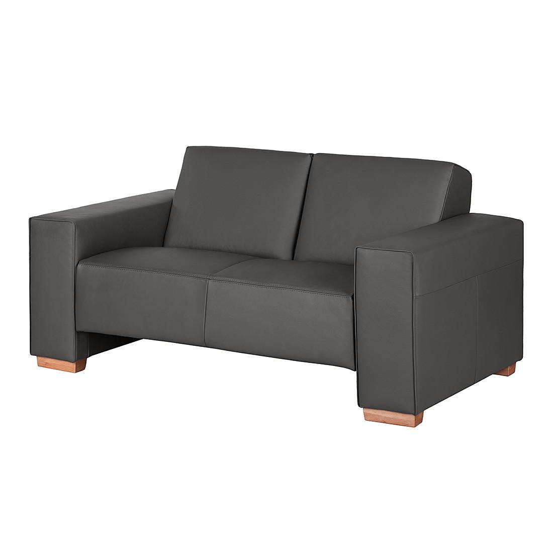 Canapé Midar (2 places) - Cuir véritable gris foncé, roomscape