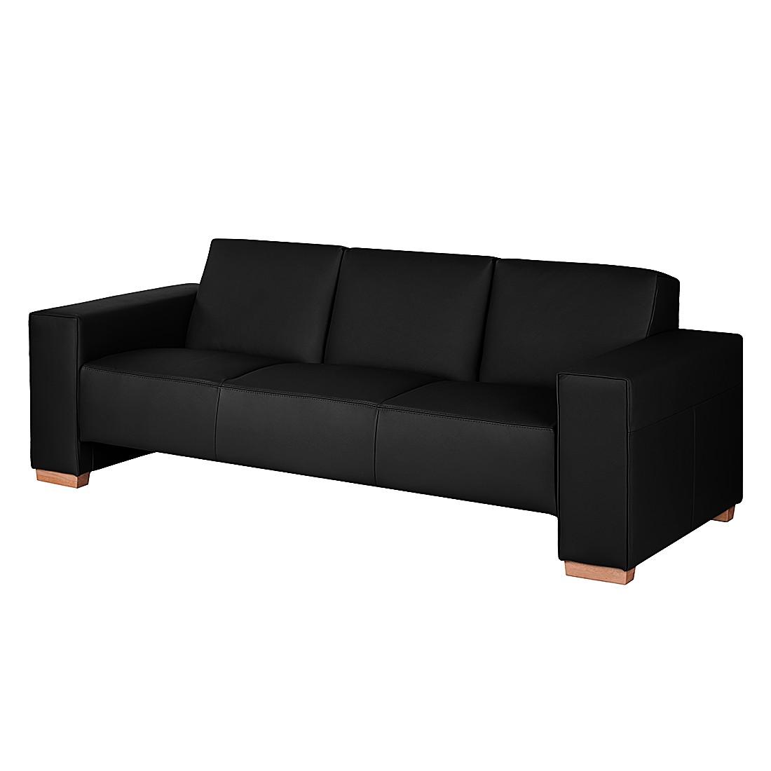 Canapé Midar (3 places) - Cuir véritable - Noir, roomscape