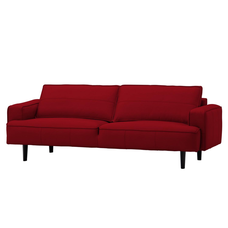 Sofa Navona (3-Sitzer) - Echtleder - Schwarz - Echtleder Neka Rot