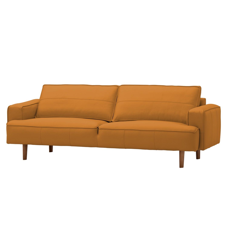 Sofa Navona (3-Sitzer) Echtleder - Walnuss - Echtleder Neka Cognac