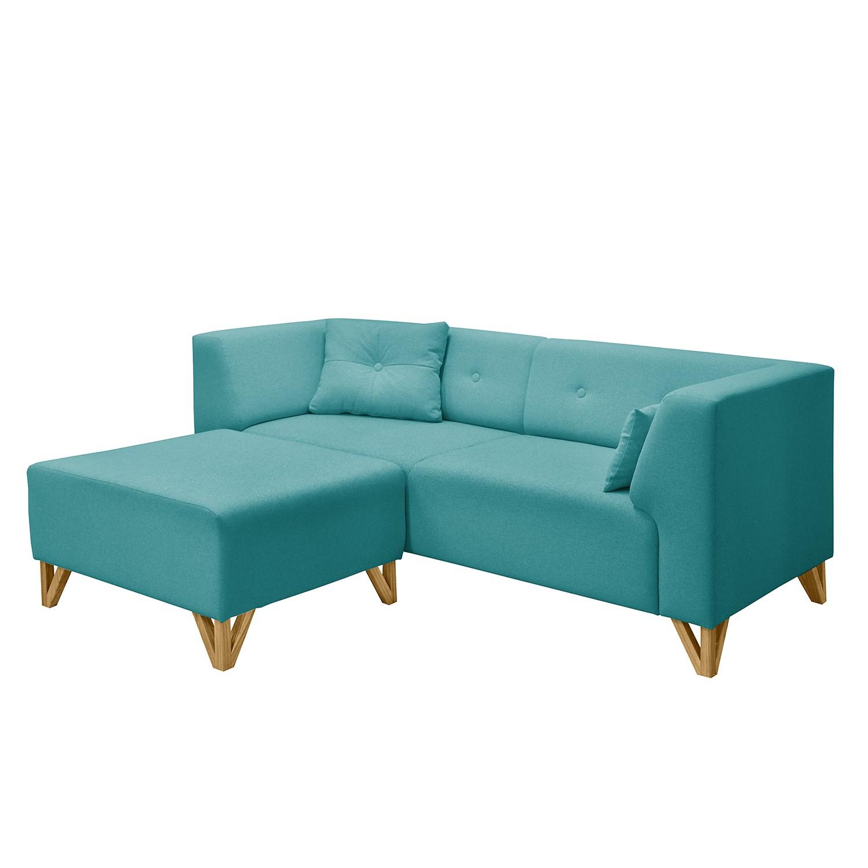 Canap ongar i 2 places tissu avec repose pieds p trole morteens meubles - Canape convertible avec repose pied ...