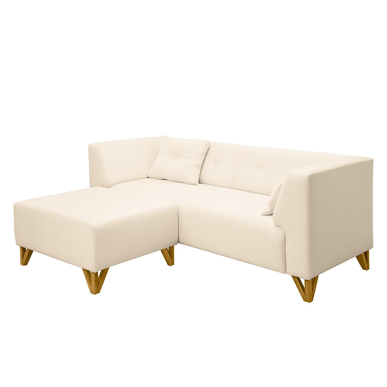canap ongar ii 2 places tissu avec repose pieds cr me. Black Bedroom Furniture Sets. Home Design Ideas