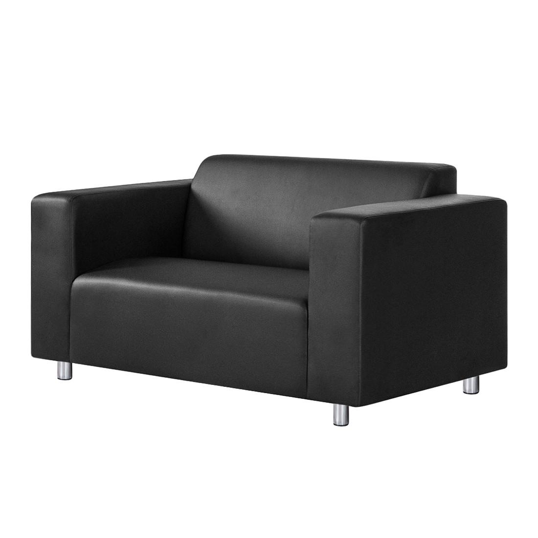 Canapé Oslo (2 places) - Imitation cuir noir, mooved