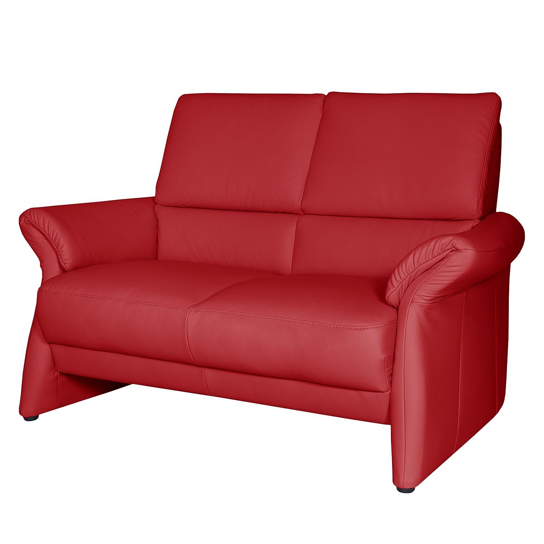 Canapé Patay (2 places) Cuir véritable - Rouge cerise, Nuovoform