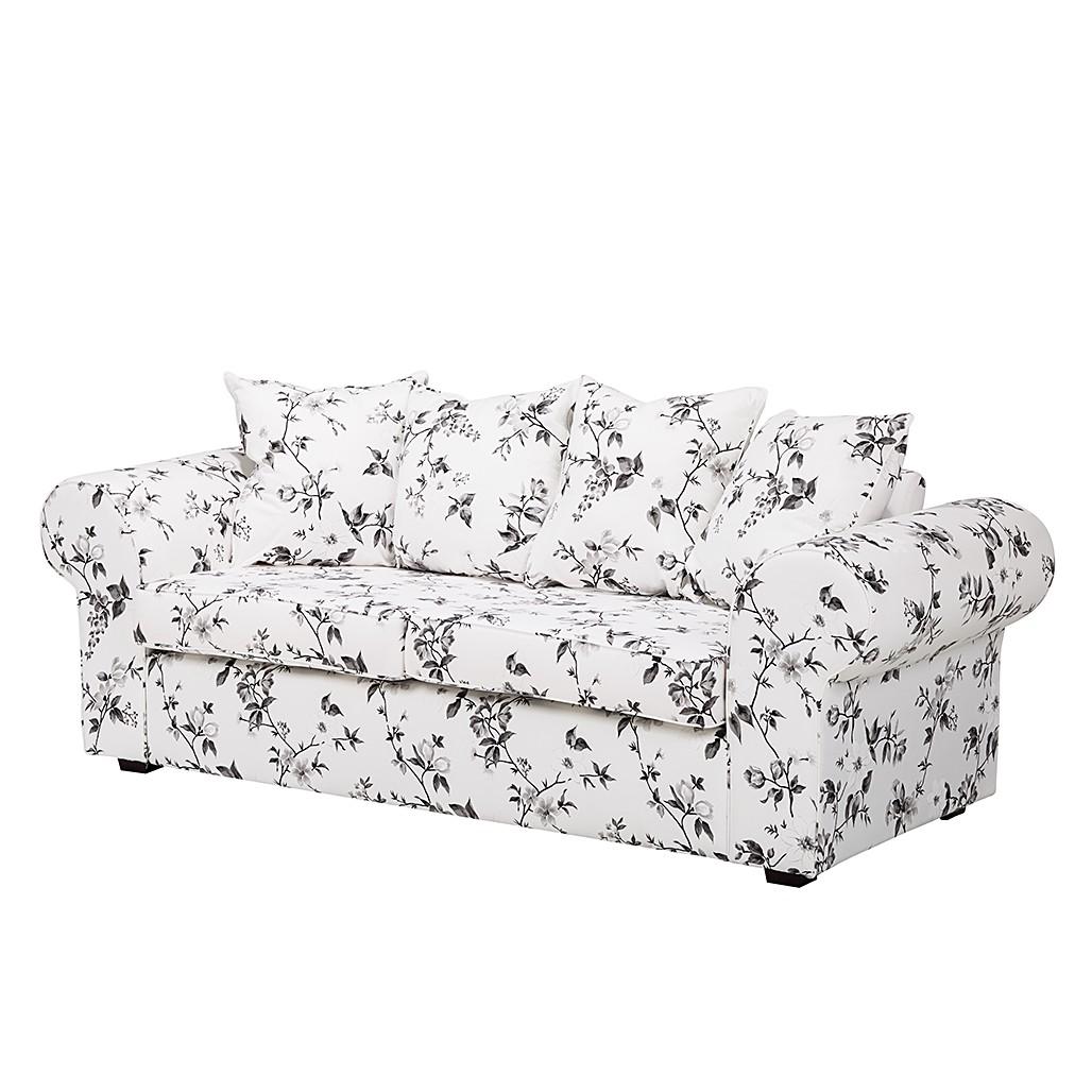 Canapé Red Rose (3 places) - Tissu motif floral blanc / noir, Maison Belfort
