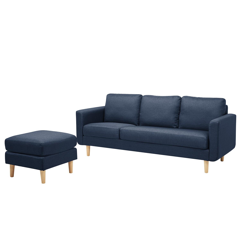 Canapé Saluda (3 places avec repose-pieds) - Tissé à plat - Bleu foncé, mooved