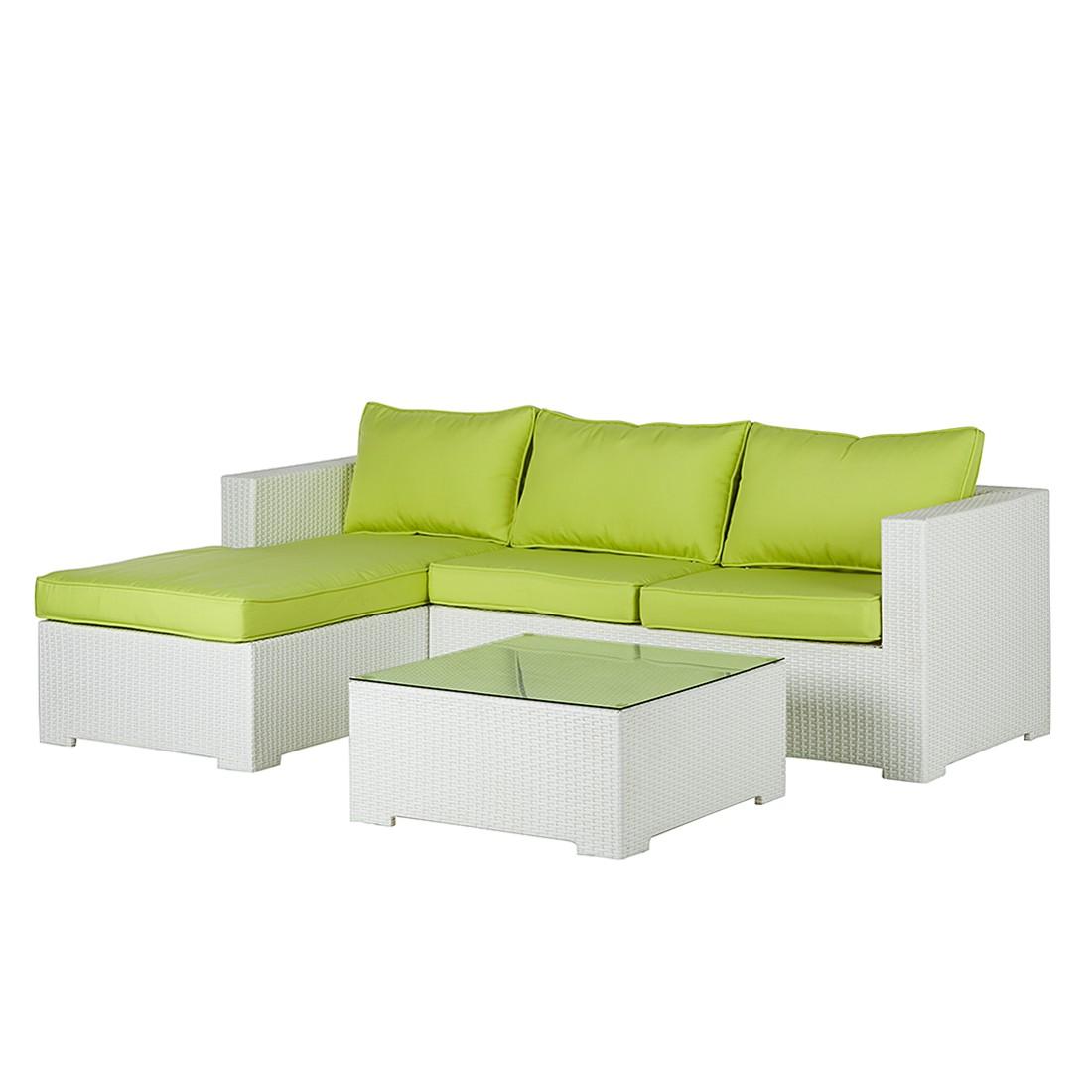 Home 24 - Salon de jardin white comfort (3 éléments) - poly rotin / textile - blanc / kiwi, fredriks