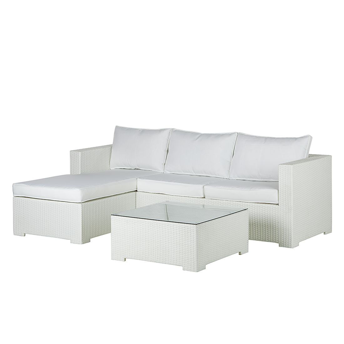 Salon de jardin Paradise Lounge (3 éléments) - Poly rotin / Textile - Blanc, Fredriks