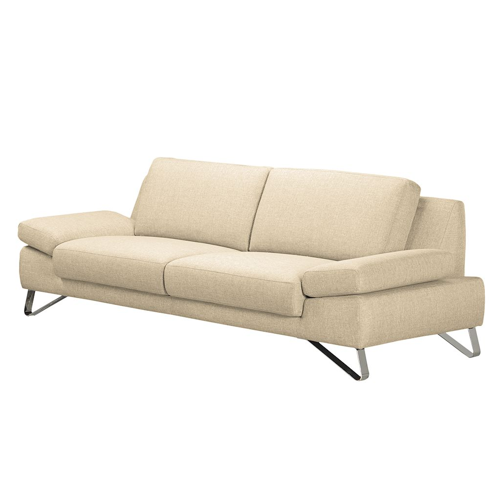 sofa silvano 3 sitzer webstoff beige mit 1 kopfst tze loftscape kaufen. Black Bedroom Furniture Sets. Home Design Ideas