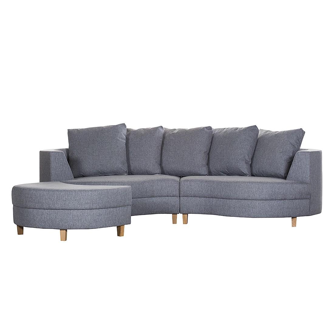 Canapé Sunset (avec repose-pieds) - Tissu structuré gris clair, roomscape