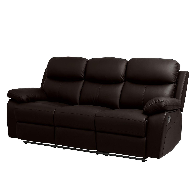 Canapé Tetchill (3 places avec fonction relaxation) Imitation cuir - Marron foncé, Fredriks