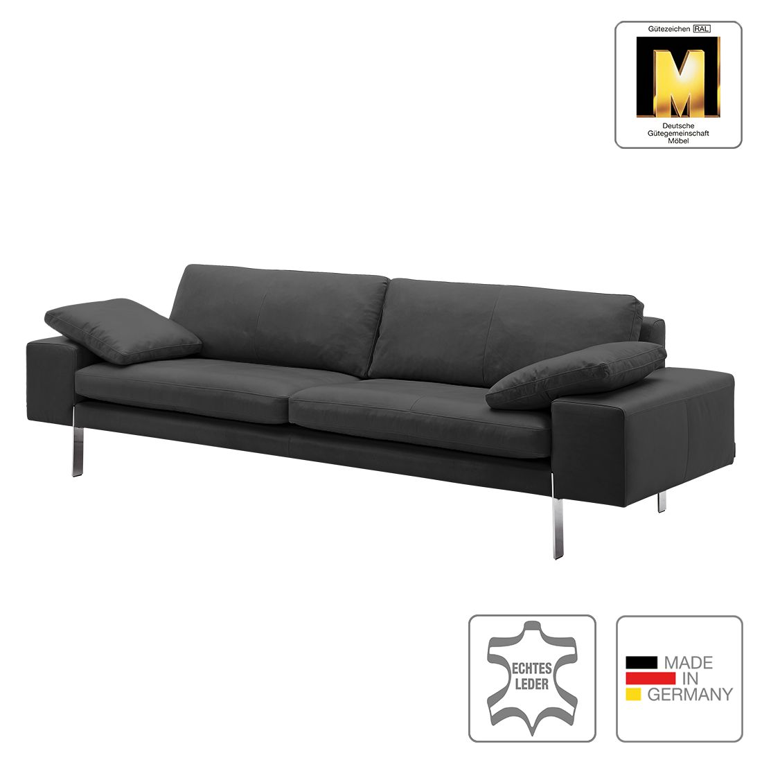 sofa topal 4 sitzer echtleder anthrazit 2 kissen machalke polsterwerkst tten g nstig. Black Bedroom Furniture Sets. Home Design Ideas