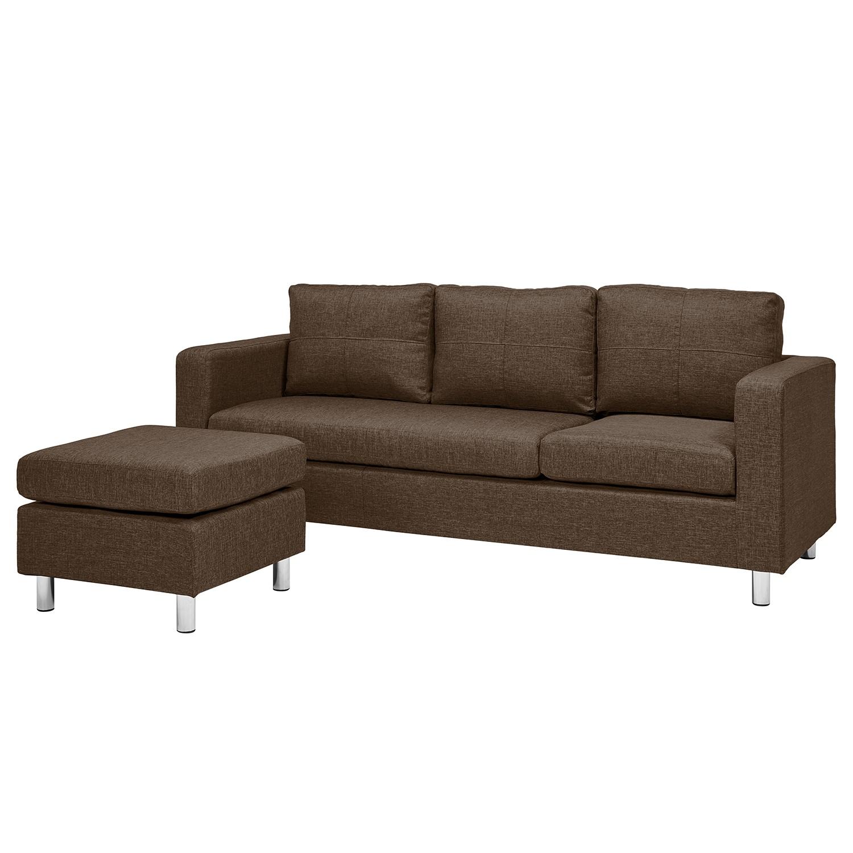 Canapé Wyke (3 places avec repose-pieds) - Tissu - Nougat, Fredriks