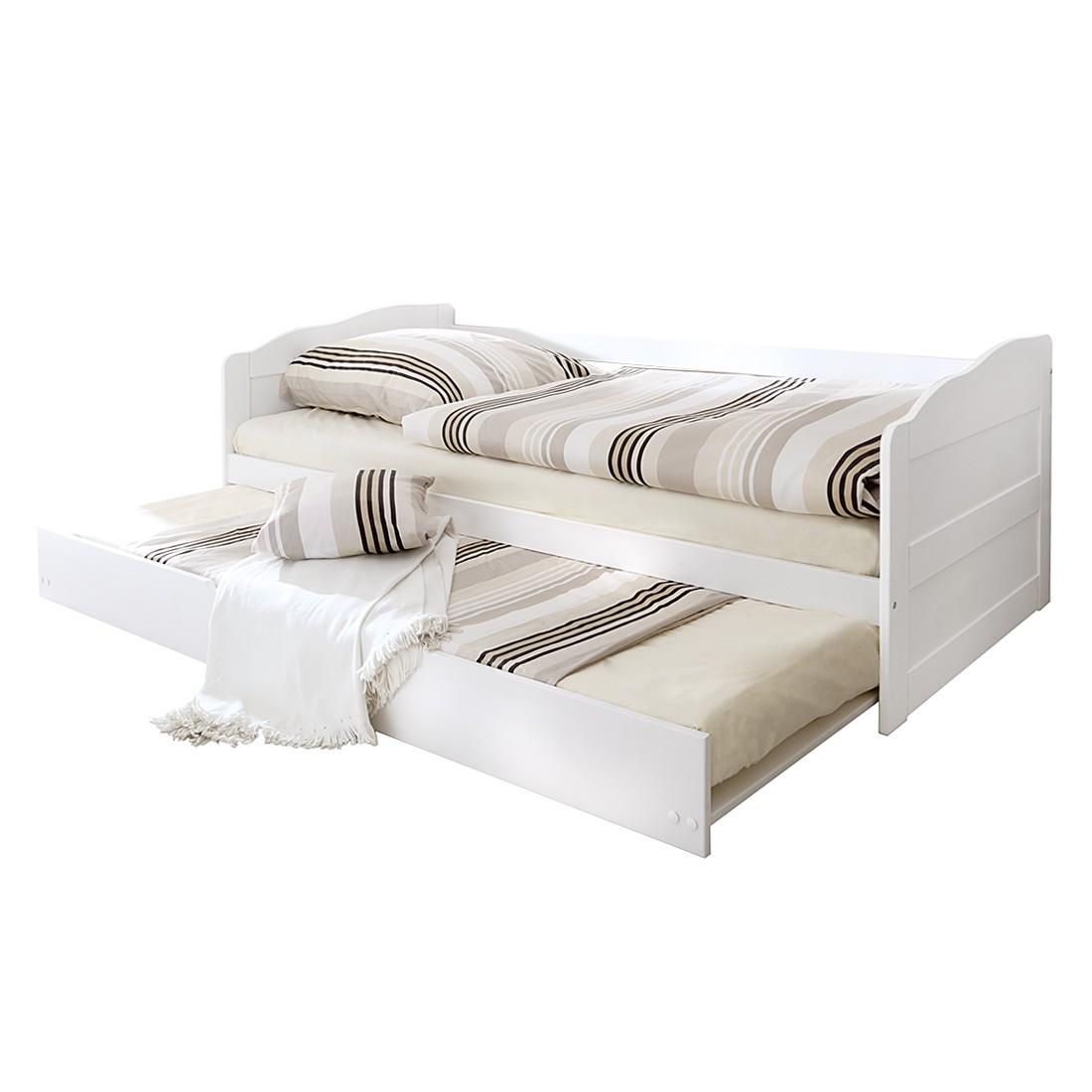 Canapé lit Melinda - Pin massif - Blanc, Ticaa