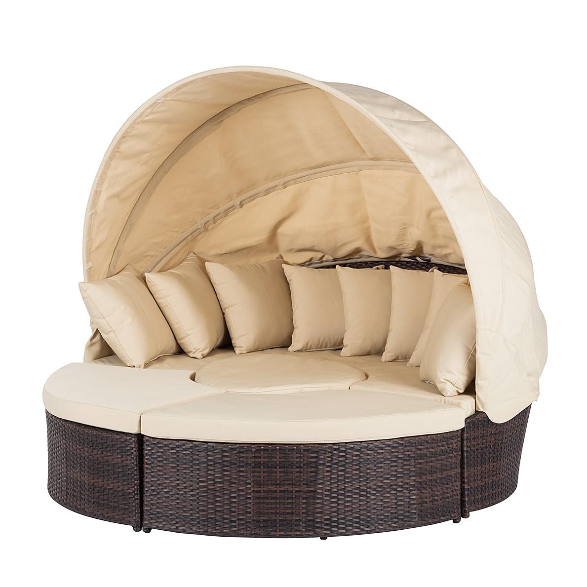 Premium Lounge eiland Paradise Lounge - polyrotan - aluminium frame - Bruin/beige, Fredriks