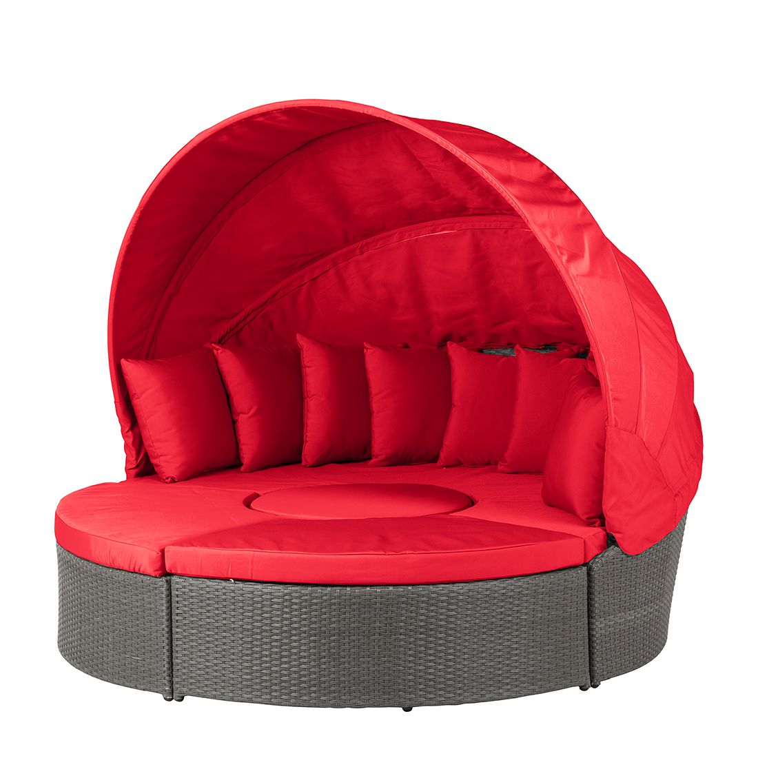 premium sonneninsel paradise lounge polyrattan aluminiumrahmen grau rot fredriks kaufen. Black Bedroom Furniture Sets. Home Design Ideas