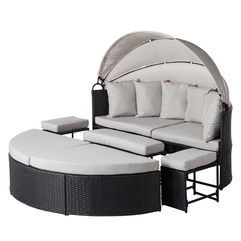 Salon de jardin modulable Paradise Lounge - Tissu / Polyrotin - Gris, Fredriks